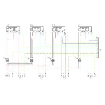 SFOS 4E1RP - čtyř elektroměrový třífázový jednotarifní rozvaděč v pilíři (E-ON, ČEZ)