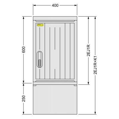SFOS 2EJ1R+K1 - dvou elektroměrový jednofázový jednotarifní rozvaděč s kabelovým prostorem K1 (E-ON, ČEZ)