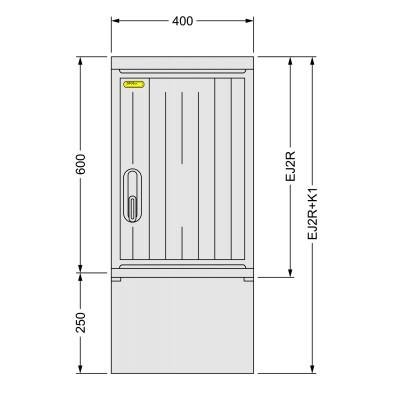 SFOS EJ2R+K1 - elektroměrový jednofázový/dvoutarifní rozvaděč s kabelovým prostorem K1 (E-ON, ČEZ)