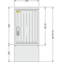 SFOS 2E1R+K1 - dvou elektroměrový třífázový jednotarifní rozvaděč s kabelovým prostorem K1 (E-ON, ČEZ)