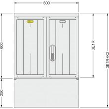 SFOS 3E1R+K2 - tří elektroměrový třífázový jednotarifní rozvaděč s kabelovým prostorem K2 (E-ON, ČEZ)
