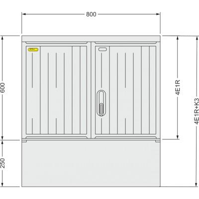 SFOS 4E1R+K3 - čtyř elektroměrový třífázový jednotarifní rozvaděč s kabelovým prostorem K3 (E-ON, ČEZ)