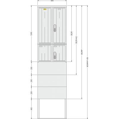 SFOS 3E2RP/F+ZD tří elektroměrový dvoutarifní třífázový plastový rozvaděč v pilíři se zemním dílem (E-ON, ČEZ)
