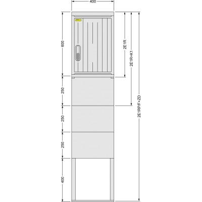 SFOS 2E1RP/F+ZD dvou elektroměrový třífázový jednotarifní rozvaděč v pilíři se zemním dílem (E-ON, ČEZ)