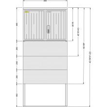 SFOS 4E1RP/F+ZD - čtyř elektroměrový třífázový jednotarifní rozvaděč v pilíři se zemním dílem (E-ON, ČEZ)