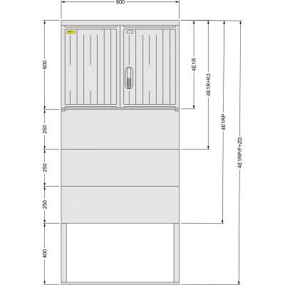 SFOS 4E1RP/F+ZD čtyř elektroměrový třífázový jednotarifní rozvaděč v pilíři se zemním dílem (E-ON, ČEZ)